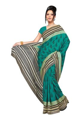 Fabdeal Teal Raw Silk Printed Saree With Blouse Piece