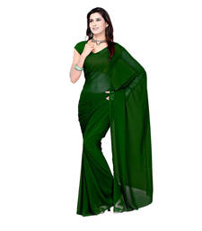 Buy Dark green plain georgette saree with blouse below-400 online