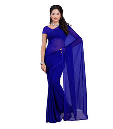 Buy Royal blue plain georgette saree with blouse diwali-discount-offer online