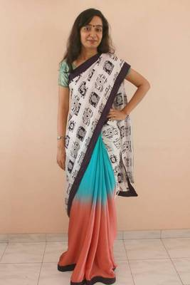 Camera saree in chiffon and cotton satin