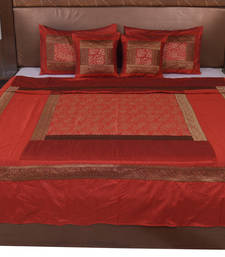 Buy Polysilk Hand Gold Print Bed Cover Set diwali-home-decor online