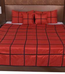 Polysilk Plain Checks Design Bed Cover Set