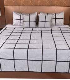 Buy Polysilk Plain Checks Design Bed Cover Set bed-sheet online