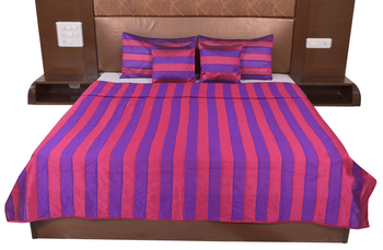Polysilk Stripes Design Bed Cover Set
