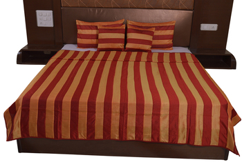 Polysilk Stripes Design Bed Cover Set