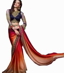 Buy multicolour embroidered satin saree with blouse satin-saree online
