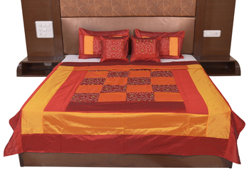Polysilk Embroidered Bed Cover Set