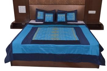 Polysilk Rajwada Mirror work Bed Cover Set