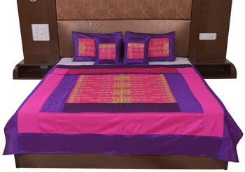 Polysilk Rajwada Mirror work Bed Cover Set