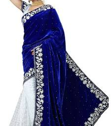 Buy FOG DESIGNER BLUE VELVET FANCY SAREE velvet-saree online