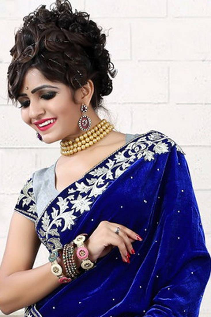 Buy FOG DESIGNER BLUE VELVET FANCY SAREE Online