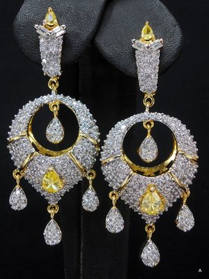 CZ Ear ring with yellow stone