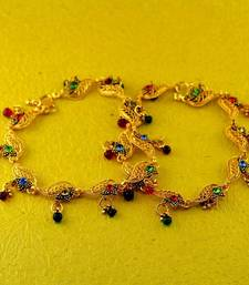 "Buy ib,micro gold platted stone moti anklet size-10""inch anklet online"