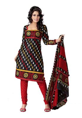 Cotton Bazaar Casual Wear Black & Red Colored Cotton Dress Material