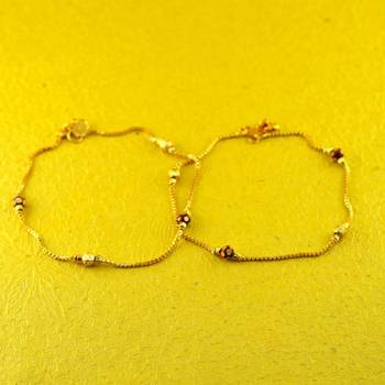 "micro gold platted stone moti anklet size-10""inch"
