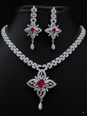 Pink stone studded attractive CZ necklace set.