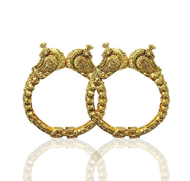 Gold Plated Peecock Design Wedding Bangles Indian Jewellery ...
