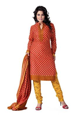 Cotton Bazaar Casual Wear Red & Yellow Colored Cotton Dress Material