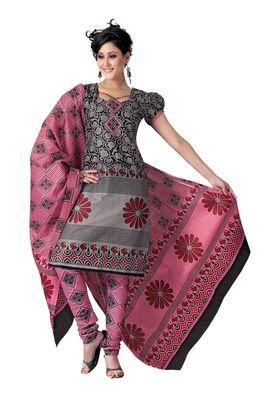 Cotton Bazaar Casual Wear Gray & Black Colored Cotton Dress Material