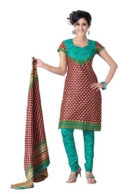 Cotton Bazaar Casual Wear Maroon & Yellow Colored Cotton Dress Material