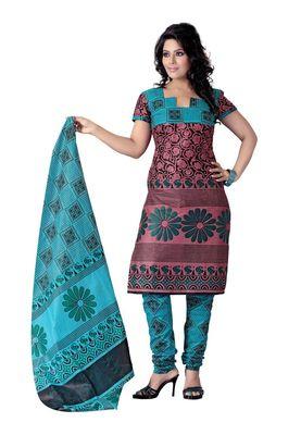 Cotton Bazaar Casual Wear Light Pink & Sea Green Colored Cotton Dress Material