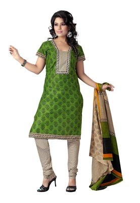 Cotton Bazaar Casual Wear Green & Black Colored Cotton Dress Material
