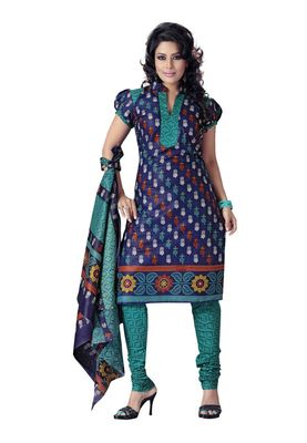 Cotton Bazaar Casual Wear Blue Colored Cotton Dress Material