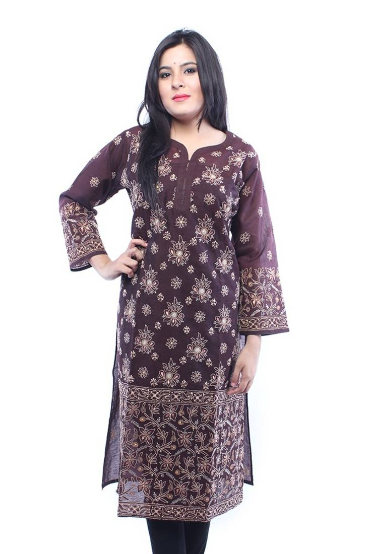 Buy Hand Embroidered Extra Large Brown Cotton Silk Lucknow Chikankari Long Kurti` Online