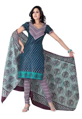 Cotton Bazaar Casual Wear Purple & Turquoise Colored Cotton Dress Material