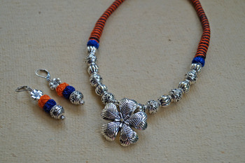 Heart petal pendant - orange and blue