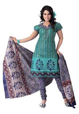Cotton Bazaar Casual Wear Turquoise Colored Cotton Dress Material