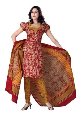Cotton Bazaar Casual Wear Wheat & Red Colored Cotton Dress Material