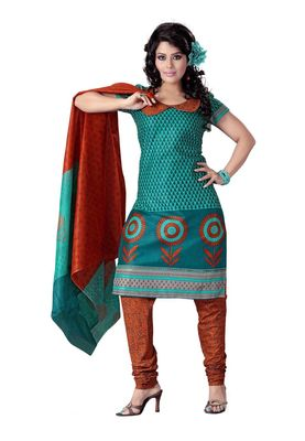 Cotton Bazaar Casual Wear Turquoise & Teal Colored Cotton Dress Material