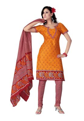Cotton Bazaar Casual Wear Orange Colored Cotton Dress Material
