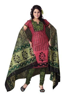 Cotton Bazaar Casual Wear Peach & Black Colored Cotton Dress Material