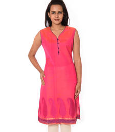 Buy Pink Chanderi straight kurti plus-size-kurtis online