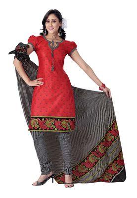Cotton Bazaar Casual Wear Orange Colored Cotton Dress Material