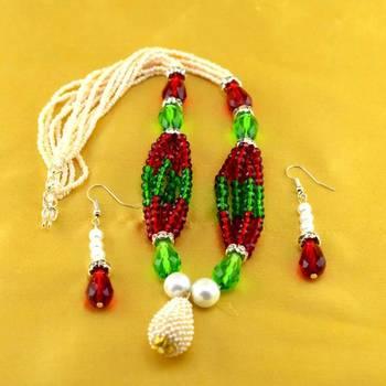 necklace moti kundun polki with earing