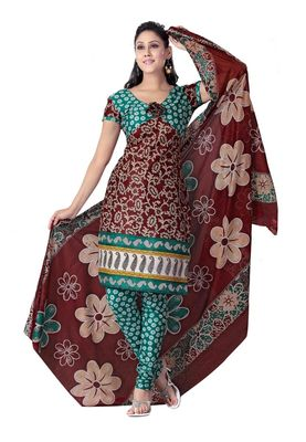 Cotton Bazaar Casual Wear Brown & Teal Colored Cotton Dress Material