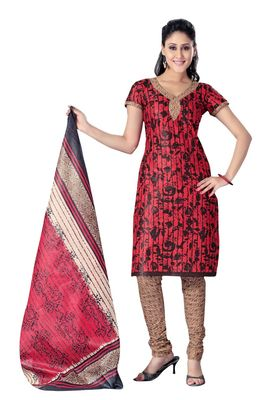 Cotton Bazaar Casual Wear Red & Black Colored Cotton Dress Material