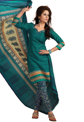 Cotton Bazaar Casual Wear Sea Green Colored Cambric Cotton Salwar Kameez