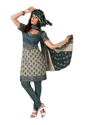 Cotton Bazaar Casual Wear Cream & Dark Green Colored Cambric Cotton Salwar Kameez