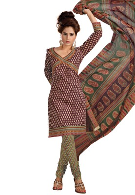 Cotton Bazaar Casual Wear Brown & Yellow Colored Cambric Cotton Salwar Kameez