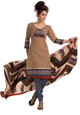 Cotton Bazaar Casual Wear Brown , Blue & Cream Colored Cambric Cotton Salwar Kameez