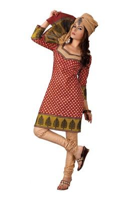 Cotton Bazaar Casual Wear Red & Cream Colored Cambric Cotton Salwar Kameez