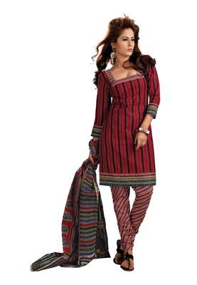 Cotton Bazaar Casual Wear Red & Black Colored Cambric Cotton Salwar Kameez