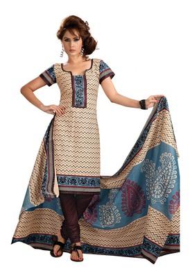 Cotton Bazaar Casual Wear Cream & Black Colored Cambric Cotton Salwar Kameez