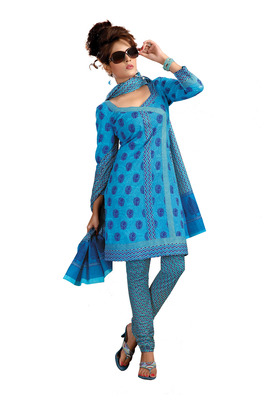 Cotton Bazaar Casual Wear Blue Colored Cambric Cotton Salwar Kameez