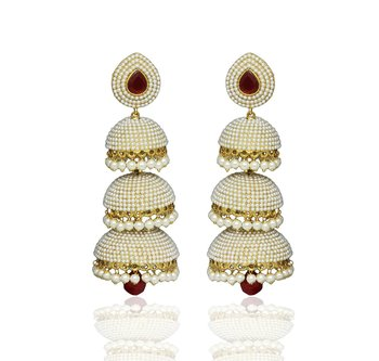 22559cd24 Designer White Pearl Jhumka/Earrings Set with Beautiful Red Ruby Stone for  Indian Bridal Women
