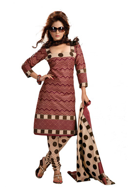 Cotton Bazaar Casual Wear Brown & Cream Colored Cambric Cotton Salwar Kameez